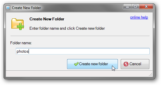 New folder name prompt